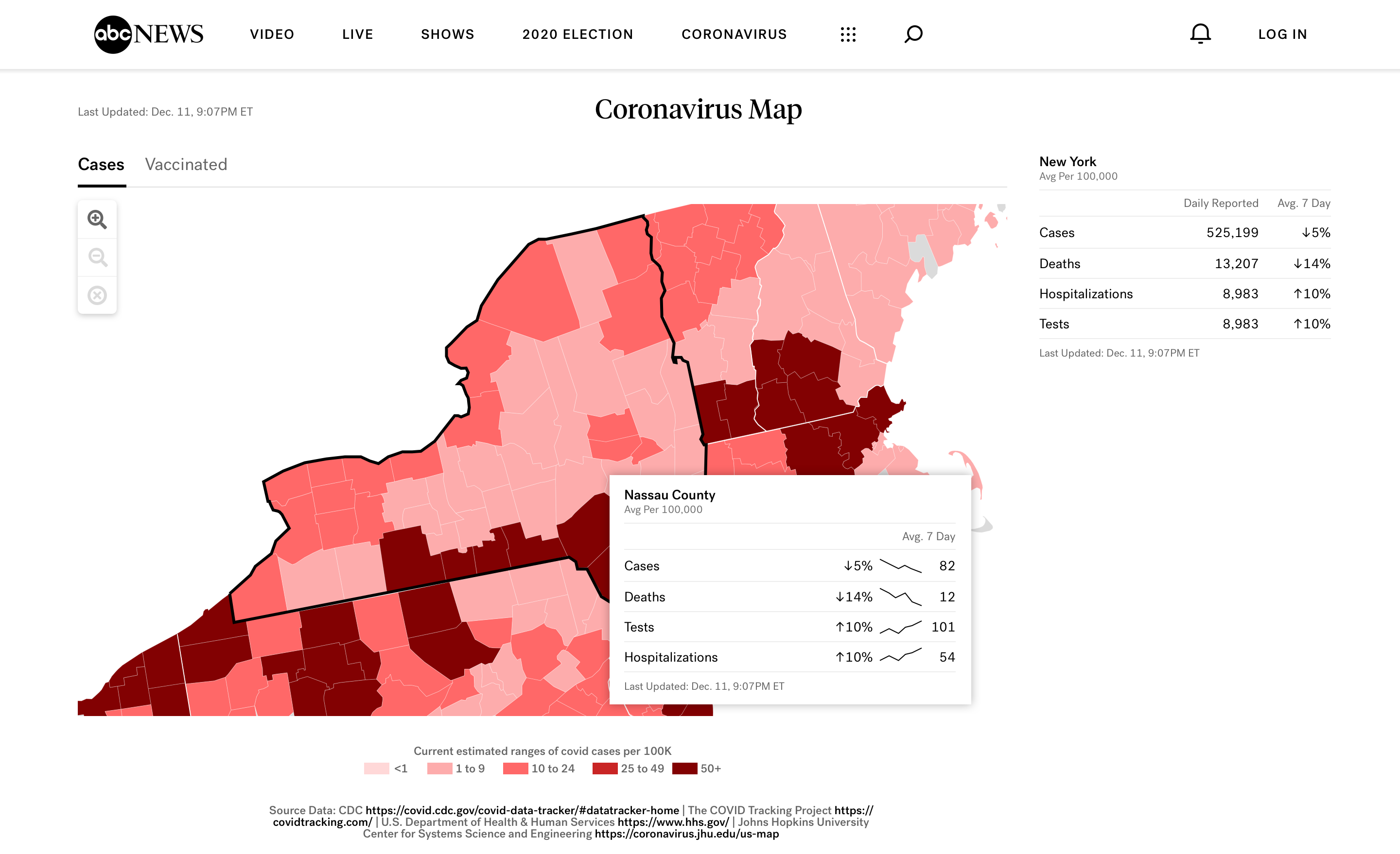 Cases – State View – County Hover