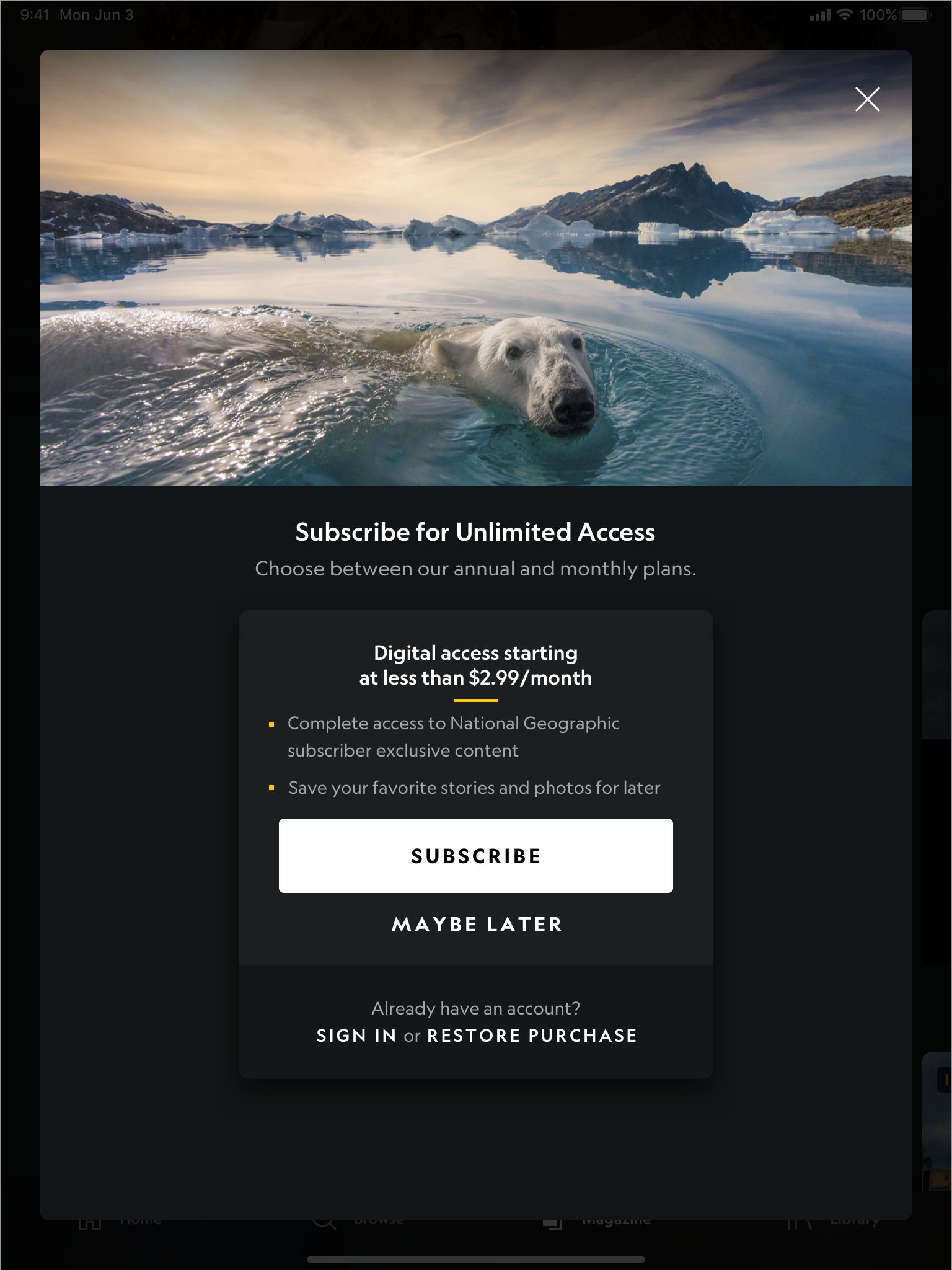 Paywall – Generic – Guest – Example 1 (Dark Mode) Portrait
