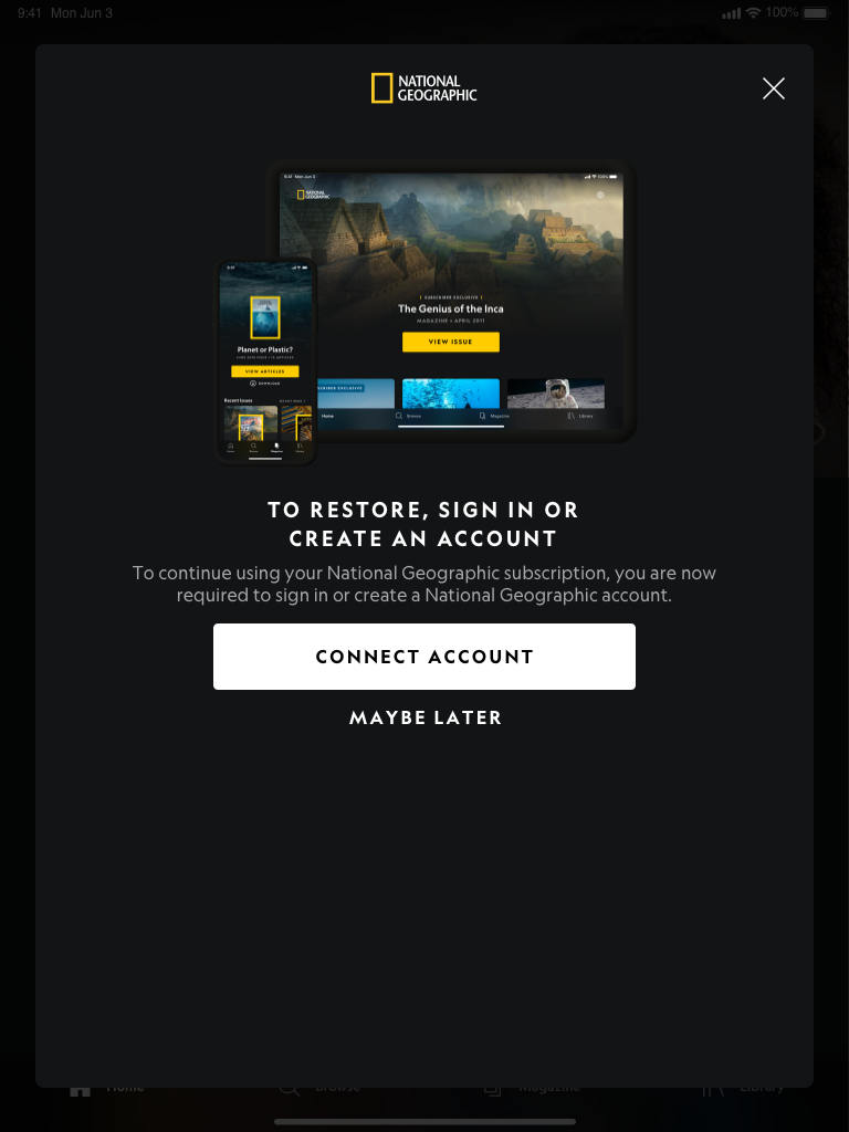 Paywall – Link Subscription – Restore (Dark Mode) Portrait